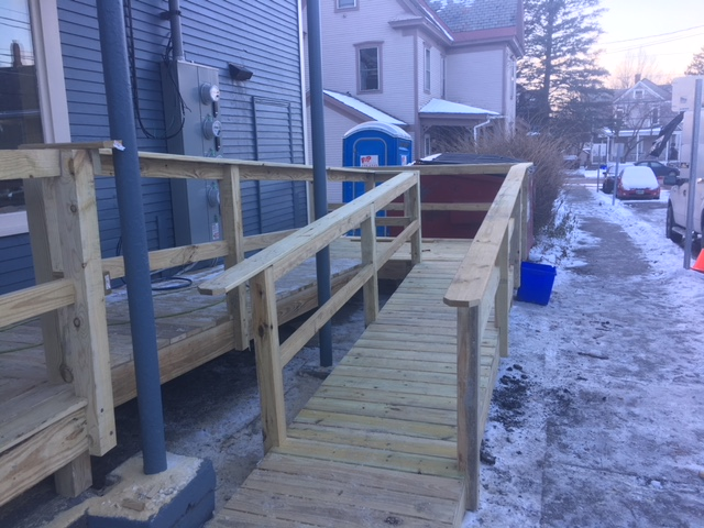 A wooden two-level ramp built by Protech