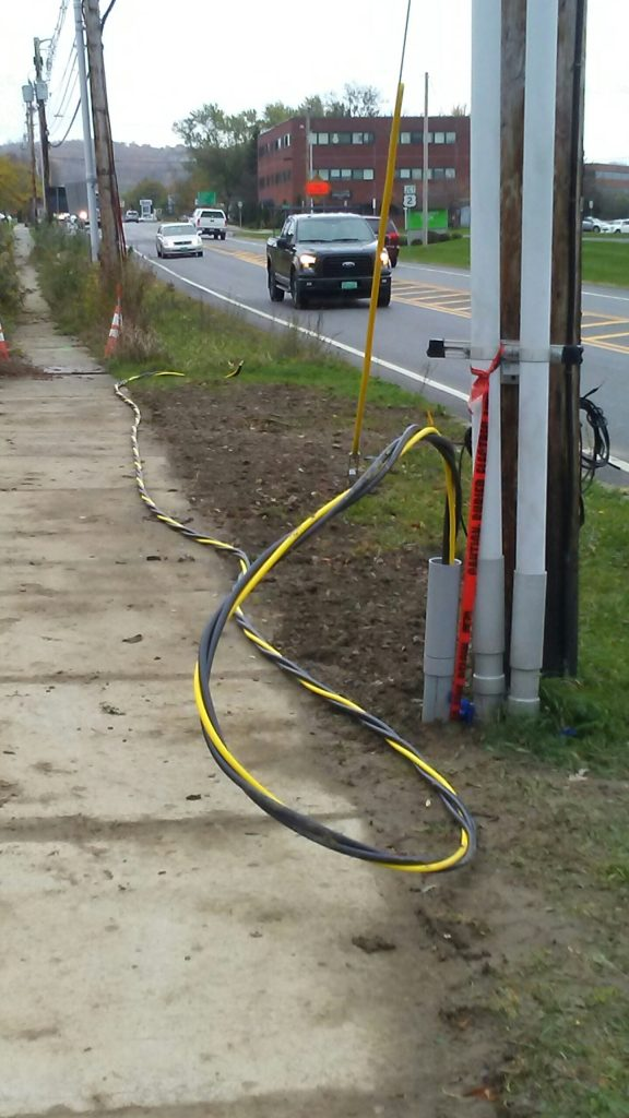 Underground Electrical Installation on the side of a road in Vermont, done by Protech.